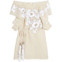 Camelia metallic linen-blend beach dress (£360) ❤ liked on Polyvore featuring dresses, tops, beach dresses and metallic dress