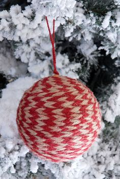 Jute Ball Ornament Red 4.75in
