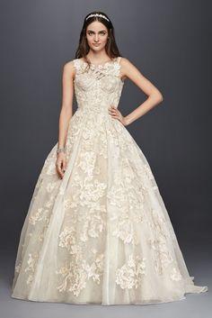 Oleg Cassini Tank Lace Beaded Wedding Dress Style 4XLCWG658