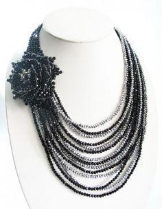Onyx black Metallic precious Gemstones Jewelry Necklace Handmade JN126