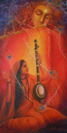 Lord Krishna devotee Meera Bai in oil pastels Krishna Leela, Radha Krishna Love, Radhe Krishna, Shiva Art, Hindu Art, Orisha, Lord Krishna Wallpapers, Spiritual Paintings, Krishna Painting