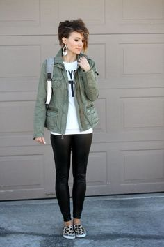 Military Jacket and Leather Leggings