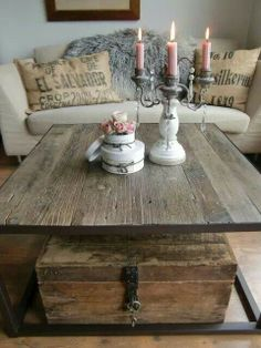 Rustic table combined with vintage fabric. love it
