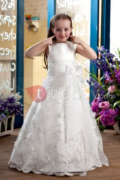 Amazing A-line Ankle-length Sleeveless Appliques  amp  Bowknot Flower Girl  Dress   5a36e33d2a1f