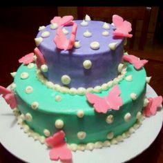 2 tier butterfly baby shower cake