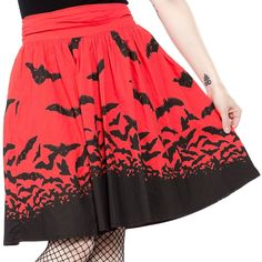 Spooksville Bats Skirt in Red by Sourpuss Clothing