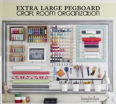 Extra Large Pegboard for Craft Room Organization Could be nice t hold the variety of embroidery stabilizers, etc
