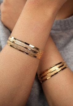 Gold Plated Bracelets/Gold Bracelet/ Gold Cuff/ by SusVintage Gold Bangles Design, Gold Jewellery Design, Gold Jewelry, Quartz Jewelry, Cuff Jewelry, Bijoux Design, Schmuck Design, Gold Plated Bracelets, Bangle Bracelets