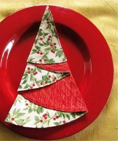 2014 Christmas napkin fold, Christmas tree napkins folding, 2014 Christmas table decor - Christmas pine napkin rings ideas that you will like ! by always_audrey