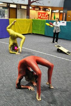 """Sara, Anika, and Kameron performed as part of the """"circus atmosphere"""" at Daffron Elementary School's Circus Night on March 1, 2013, before taking the stage for solo performances."""