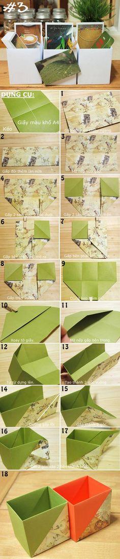Boîte, pot à crayon / Origami / Gấp giấy thành đủ kiểu hộp đựng đồ hữu ích 3