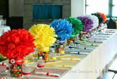 Lovely rainbow centerpiece idea, who wouldn't agree with me? Lovely rainbow centerpiece idea, who wouldn't agree with me? Diy Rainbow Birthday Party, Trolls Birthday Party, Troll Party, Rainbow Parties, First Birthday Parties, Birthday Party Themes, Birthday Table, 5th Birthday, Candy Themed Party