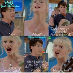Ugh this episode I could hardly watch cuz all three girls were attracted to Nate 🤢<<< Lol I couldn't stop laughing Tv Show Quotes, Movie Quotes, Funny Quotes, Rikki H2o, H2o Mermaids, Water Quotes, Haha So True, Best Boyfriend, About Time Movie