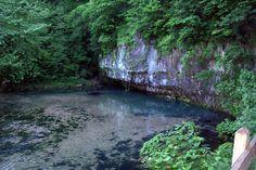 Ha Ha Tonka Springs, cave entrance to springs.   Lake of the Ozarks, Missouri