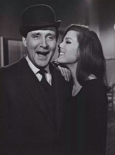 "Patrick Macnee as 'John Steed' and Diana Rigg ✾ as 'Emma Peel' from ""The Avengers""."