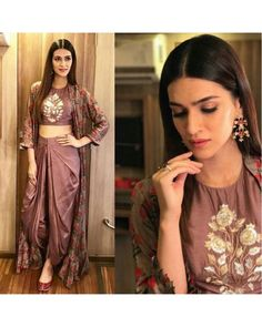 urself with this designer indo western dress Code : FB > 38 Price : no less ) Fabric : Chanderi silk koti with full inner attach ( full stich upto 42 ) Bottom tapeta silk (unstitch 3 meter fabric ) Blouse tapeta silk ( unstitch ) Ready to ship Indian Gowns, Indian Attire, Pakistani Dresses, Indian Wear, Indian Outfits, Ethnic Outfits, Long Jacket Dresses, Shrug For Dresses, Dress Up