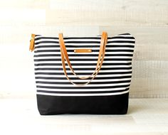 Stripes Canvas Shoulderbag - tote bag from • Handmade Bags & Purses & Totes for Women & Men by DaWanda.com