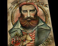 Marinaio Tattoo Art Print di ParlorTattooPrints su Etsy