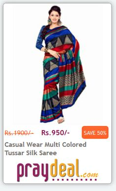 Casual Wear Multi Colored Tussar Silk Saree FLAT 50% OFF