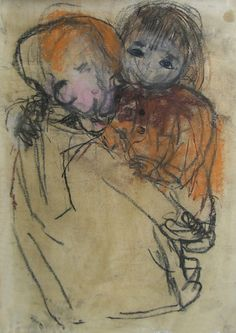 Joan Eardley Two Children Paintings I Love, Portrait Paintings, Portrait Poses, Examples Of Art, Popular Artists, Elements Of Art, Western Art, Figure Drawing, Sketches