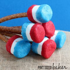 Red, White and Blue Giant Marshmallows on Pretzel Rod sticks! Fun for the kids to make!