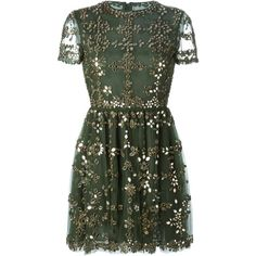 Valentino embellished tulle dress ($10,650) ❤ liked on Polyvore featuring dresses, vestidos, short dresses, valentino, green, short green cocktail dress, short sleeve cocktail dress, green cocktail dress, pleated dress y short-sleeve dresses