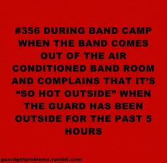 more like percussion horn line is outside more than the guard but still <<< hahahahahahaha whoever typed this is funny cause we work harder than the band