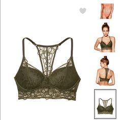 Push up lace bralette VS pink push up lace bralette. Color is olive green Victoria's Secret Intimates & Sleepwear Bras