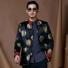 Excellent Brocade Chinese Tang Jacket - Dark Blue - Chinese Jackets - Men