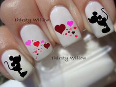 Valentine's Mickey and Minnie Mouse Nail Decals by ThirstyWillow