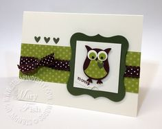 handmade card by Mary Fish ....  peekaboo bigz die ... owl punch owl dressed in green ... polka dot ribbon and paper ... luv it! ... Stampin'Up!
