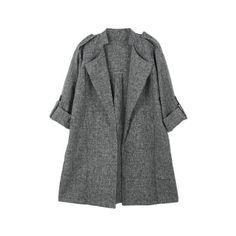 Fashion Women Trench Coat Open Front Turn-up Cuffs Thin Outerwear Grey grey Online Shopping Modest Fashion Hijab, Modern Hijab Fashion, Muslim Fashion, Women's Fashion Dresses, Iranian Women Fashion, Fashion Women, Stylish Clothes For Women, Stylish Coat, Mode Hijab