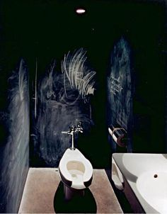 We've seen blackboard paint used in many different ways, but this might be our favorite application: as a graffiti-ready backdrop in a small bath by Paris designer India Mahdavi. Chalkboard Wall Bedroom, Blackboard Paint, Black Chalkboard, Chalk Paint, Paint Walls, Chalkboard Drawings, Chalkboard Lettering, Bathroom Graffiti, Graffiti Wall