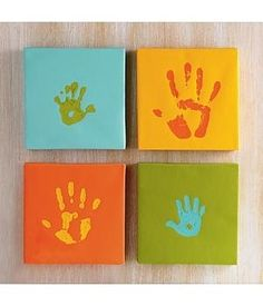 DIY handprint canvas - great artwork for playroom