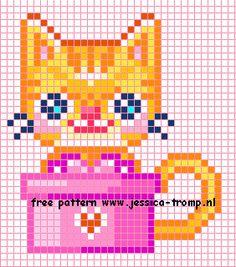 Papes borduren kruissteekpatronen chats traversent Cartes de points de