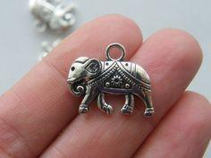 6 Elephant charms antique silver tone A268