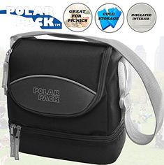 POLAR PACK Soft Insulated Cooler Bag with Zipper Pockets Handle Carry Insulated Picnic Bag Outdoor Indoor Travel Lunch Bag for Sports Home & Travel Camping (BLACK CHARCOAL). For product & price info go to:  https://all4hiking.com/products/polar-pack-soft-insulated-cooler-bag-with-zipper-pockets-handle-carry-insulated-picnic-bag-outdoor-indoor-travel-lunch-bag-for-sports-home-travel-camping-black-charcoal/