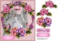 Wedding Day Card Front on Craftsuprint designed by Tina Fitch - A beautiful Wedding styled card front comes with decoupage layers too. - Now available for download!