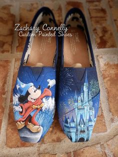 Disney's Sorcerer Mickey Mouse Toms Shoes from ZacharyConnellyArt. Saved to Custom Painted Toms. Pretty Shoes, Cute Shoes, Me Too Shoes, Tom Shoes, Shoes Sneakers, Yeezy Shoes, Converse Shoes, Adidas Shoes, Women's Shoes