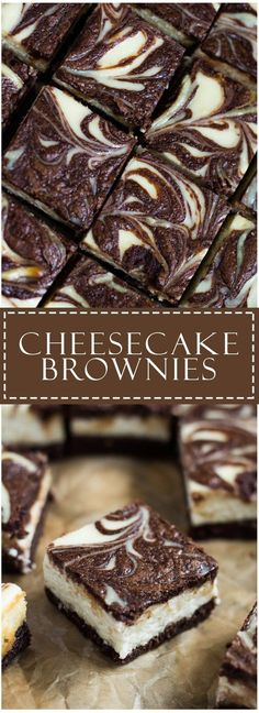 Cheesecake Brownies - Scrumptiously rich and fudgy brownies topped with a creamy.Cheesecake Brownies - Scrumptiously rich and fudgy brownies topped with a creamy cheesecake layer with a brownie swirl. A perfect cheesecake brownie combination! Just Desserts, Delicious Desserts, Yummy Food, Health Desserts, Oreo Desserts, Cheesecake Recipes, Dessert Recipes, Cheesecake Swirl Brownies, Cheesecake Cupcakes