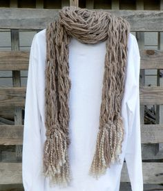 Arm Knit Taupe Scarf with Fringe by WarmButterfly on Etsy