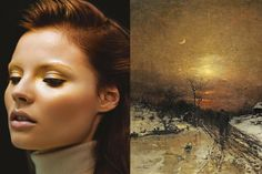 Match #331 Magdalena Frackowiak by Nathaniel Goldberg for Vogue Japan January 2009 | Moonlit Winter Landscape (detail) by Ludwig Munthe, 1871 More matches here