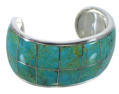 Southwest Authentic Sterling Silver Turquoise Cuff Bracelet