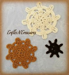 """The first of a new series of applique patterns~The Captain's Wheel Applique Set! These make an awesome addition to anything nautical! Sailor suits, bags, blankets...you name it! 3 different sizes/styles included~Small~3.5"""" acrossMedium~6"""" acrossLarge~7.25"""" across"""