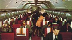 American Airlines Boeing 727-100 Interior Photo, 1970's