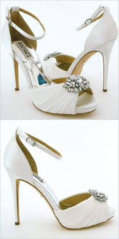 Badgley Mischka Tad Wedding Shoes. Spectacular white bridal heels combine  vintage glamour with modern day 50e29bdcd0cd