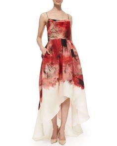 Lela Rose Sleeveless Floral-Print High-Low Dress, Red Multi