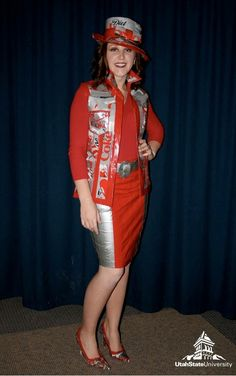 Check out this look from our fashion show!  Clothing out of recyclable materials!