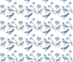Birds and Daisies drawing (light blue on white) fabric by kendrashedenhelm on Spoonflower - custom fabric