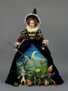 ~Nancy Wiley~ Halloween Panniere Halloween Doll, Vintage Halloween, Fall Halloween, Halloween Crafts, Dollhouse Dolls, Miniature Dolls, Ooak Dolls, Art Dolls, 7 Arts